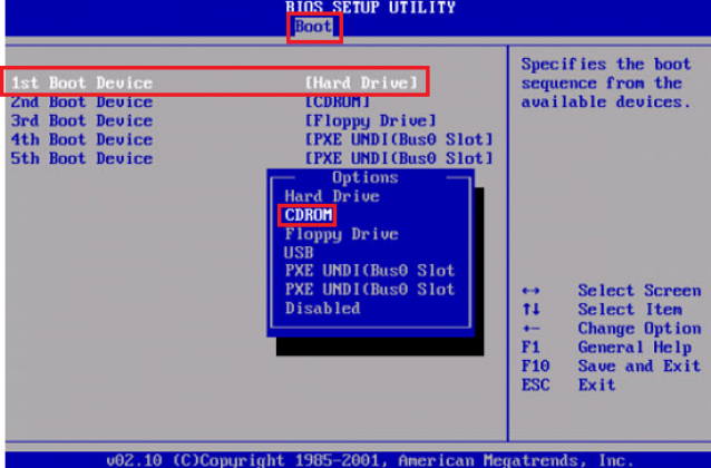 Выбор загрузки с диска в БИОС