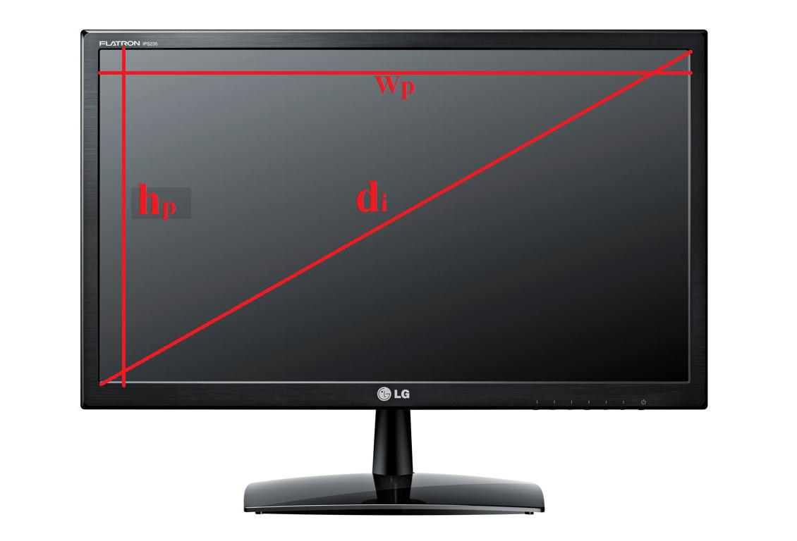 Ширина, высота и размер диагонали на мониторе