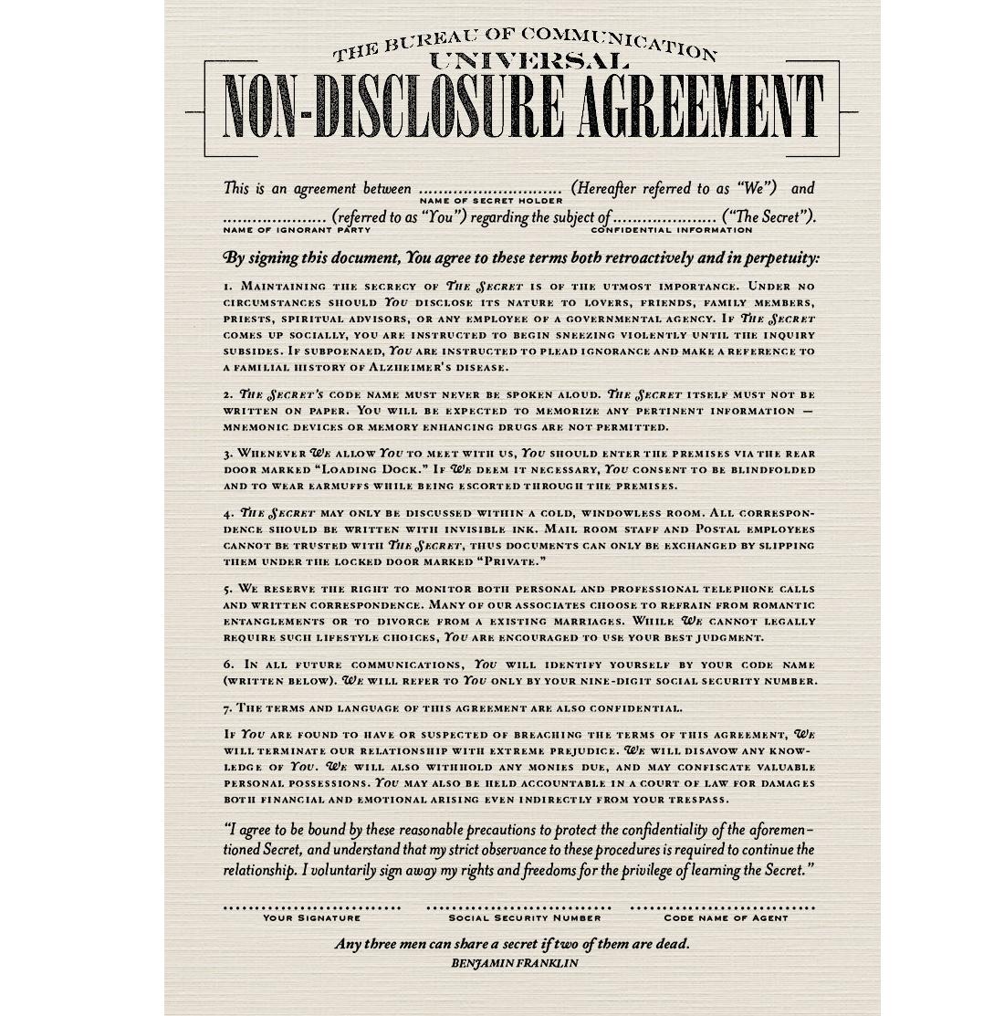 Рис. 1. Старое соглашение о неразглашении Universal