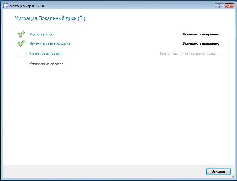 Успешное выполнение переноса Windows