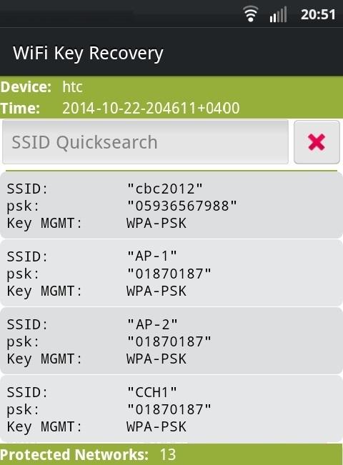 Главное окно приложения WiFi Key Recovery