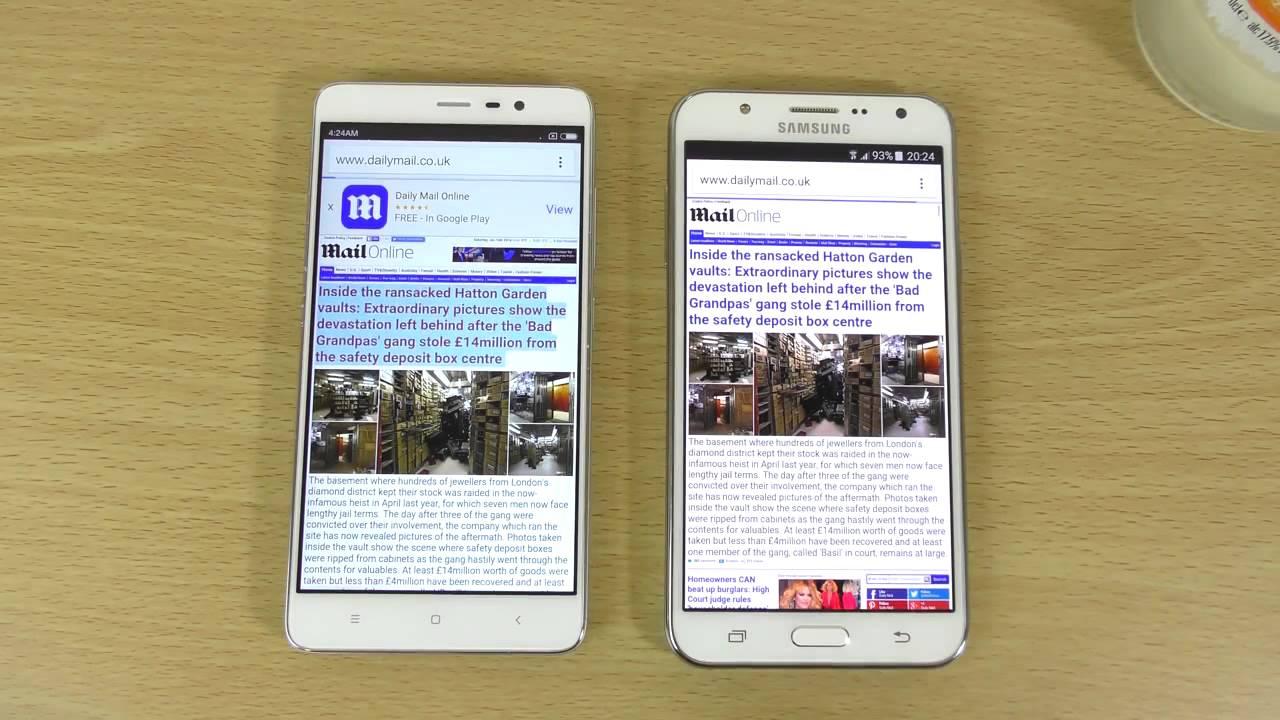 Рис. 5. Xiaomi Redmi Note 3 и Samsung Galaxy J7