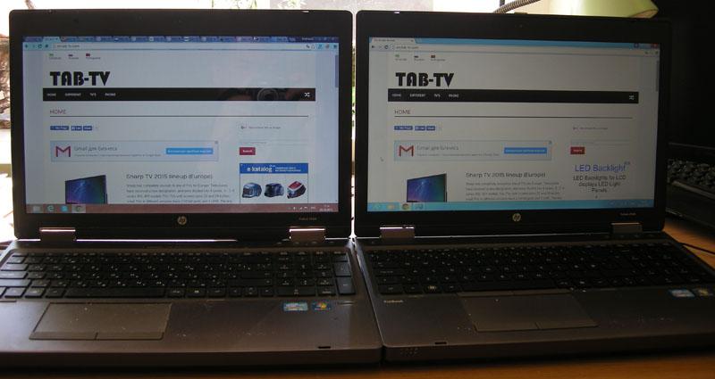 Рис. 6. Глянцевый (слева) и матовый (справа) экраны ноутбуков