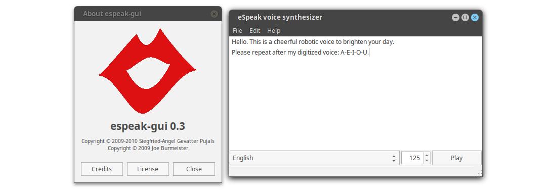 Рис. 2. Программа, использующая eSpeak