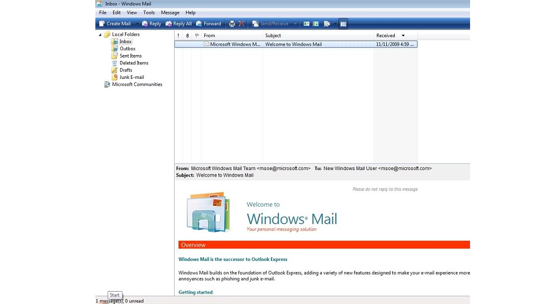 Рис. 2. Windows Mail