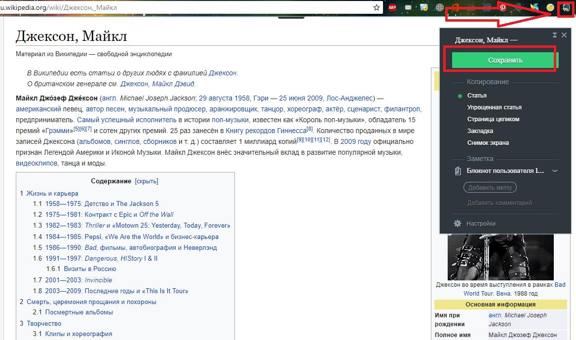 Рис.20 – пример работы с Web Clipper
