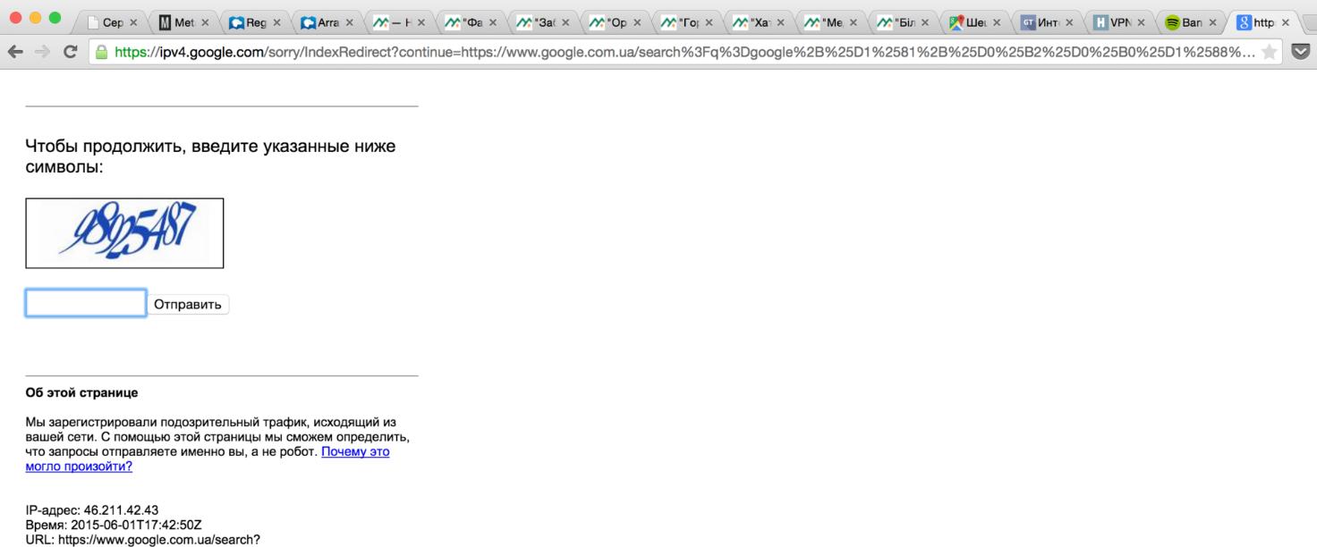 Рис.6 – пример появления окна «Капчи» в результате использования приватной сети