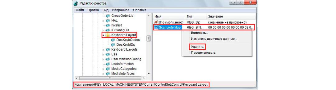 Рис. 6. Удаление параметра «Scancode Map» в разделе «Keyboard Layout»