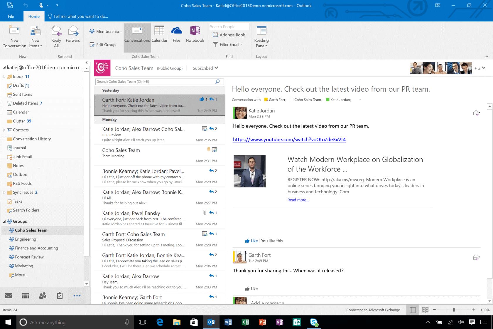 <Рис. 6 Отображение в Outlook>