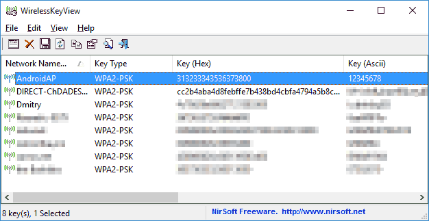 Рис. 21 – Интерфейс WirelessKeyView