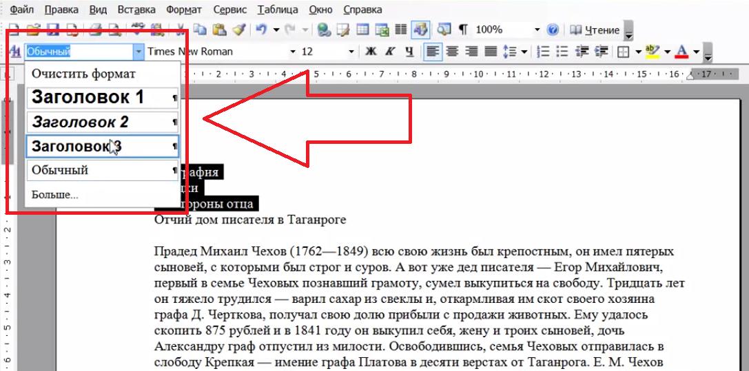 Рис.3 – создание разметки заголовков в Word 2003
