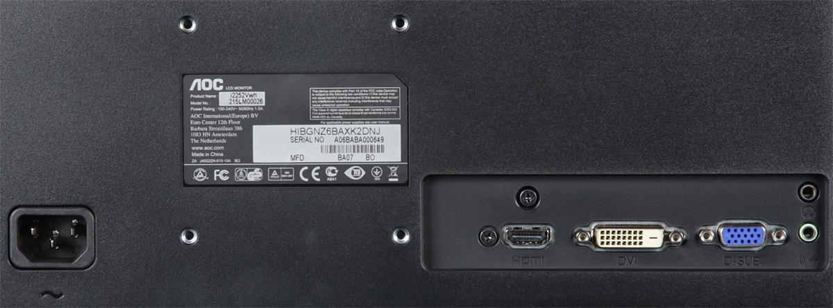 Рис. 3. Современный монитор со входами VGA, DVI и HDMI.