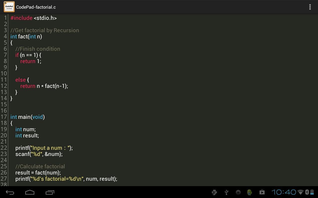 Рис. 6. CodePad на планшете