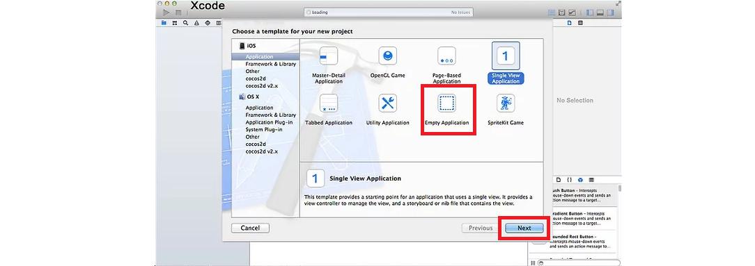 Рис. 7. Стартовый экран разработки в Xcode