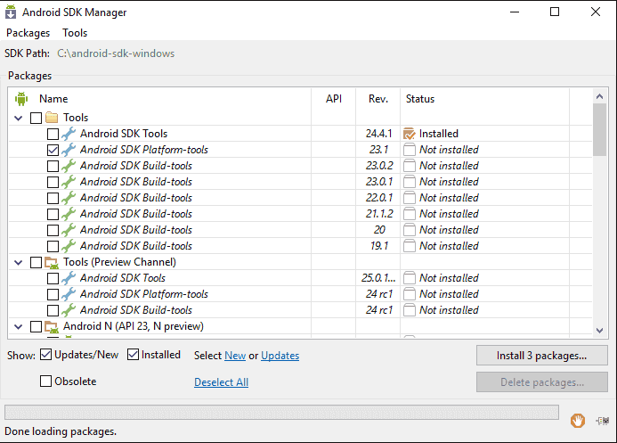 Рис.10 – настройка BOOTLOADER через утилиту SDK Manager для Андроид