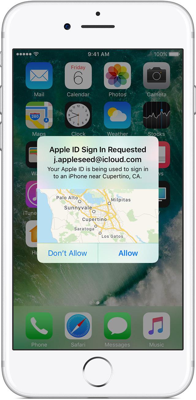 Рис.19 – подтверждение входя с помощью службы Find My iPhone