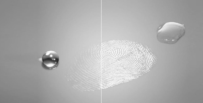 Рис. 3. Отличие между олеофобным и обычным стеклом.