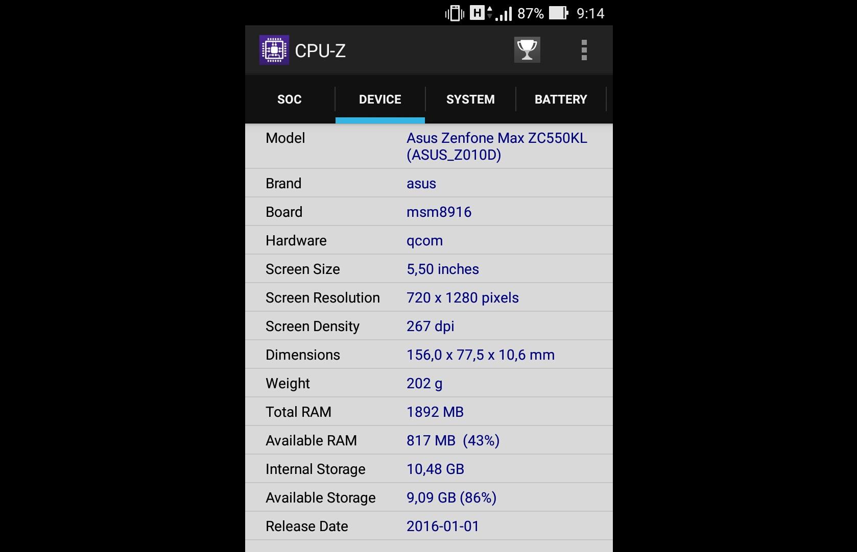 Рис. 5. Характеристики модели в программе CPU-Z.