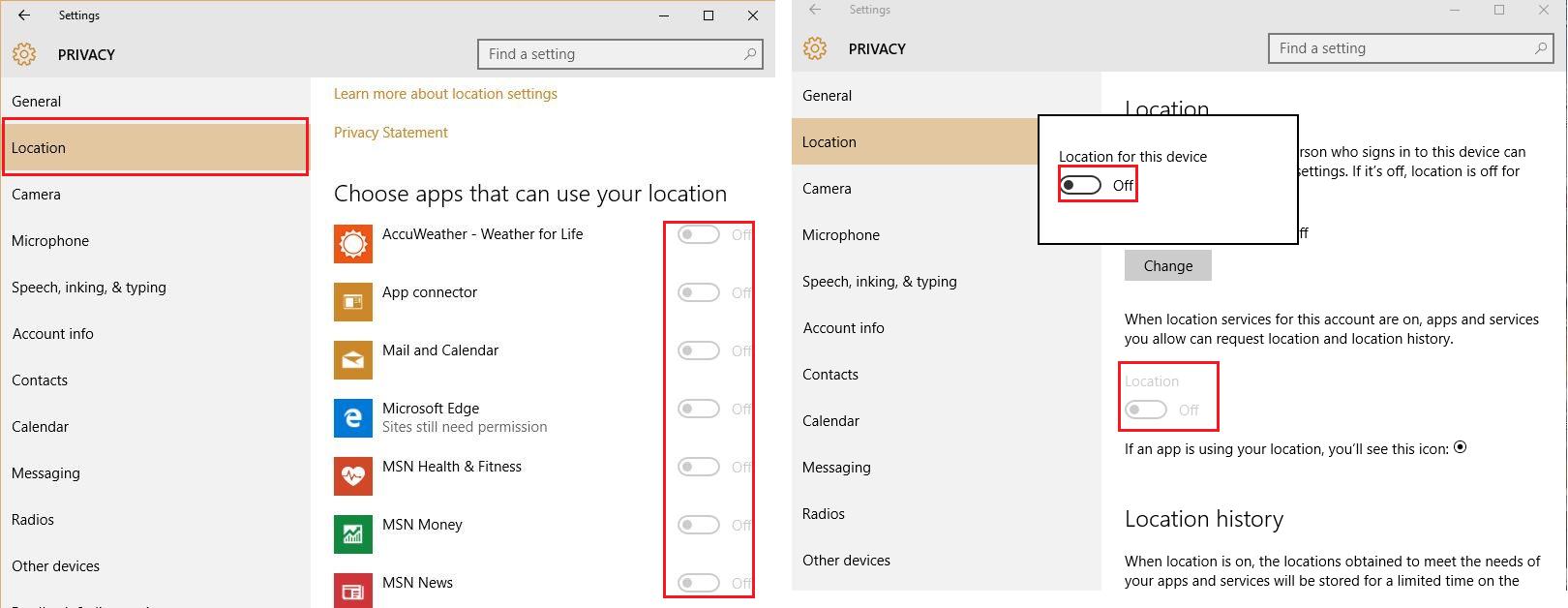 Рис. №5. «Location» со списком приложений и кнопкой отключения функции для всей ОС