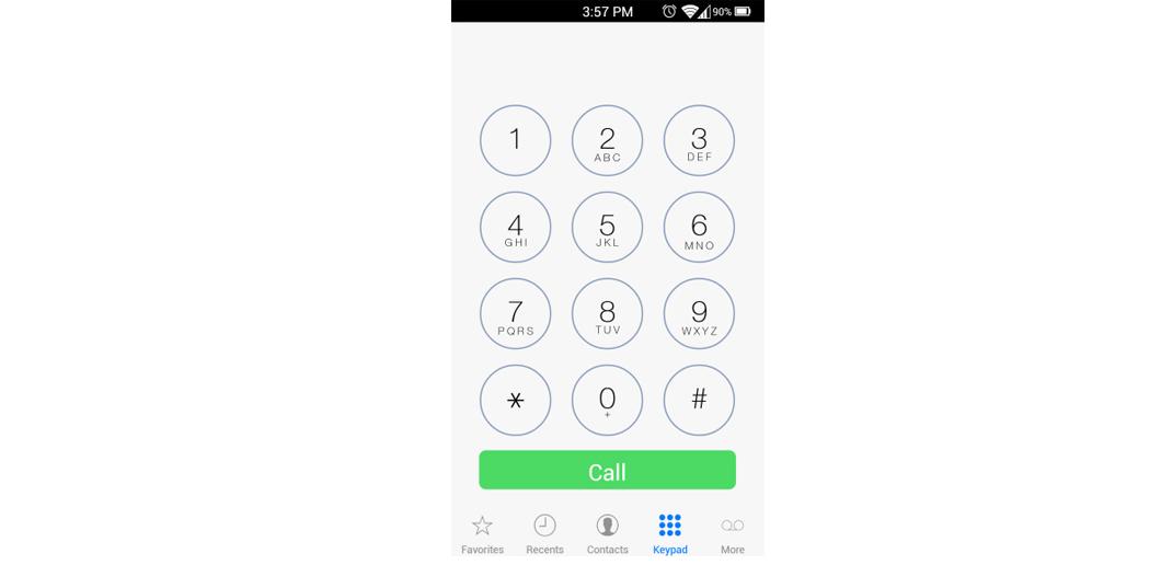 Рис. 1. Стандартное приложение «Телефон»