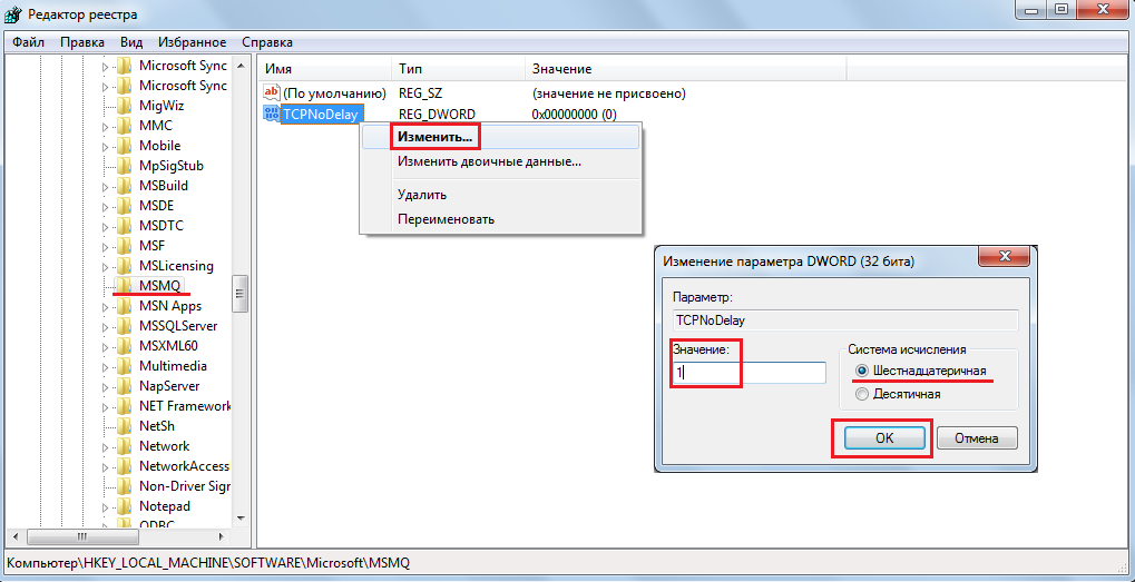 Рис. 13. Изменение значения параметра «TCPNoDelay» в папке «MSMQ»