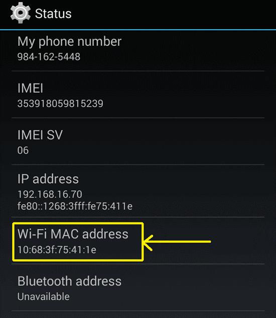 <Рис.17 МАС-адрес на Windows Phone>