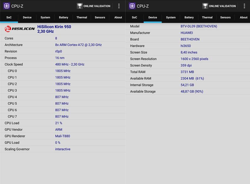 Рис. 7. Результаты проверки аппаратной части планшета с помощью приложения CPU-Z.