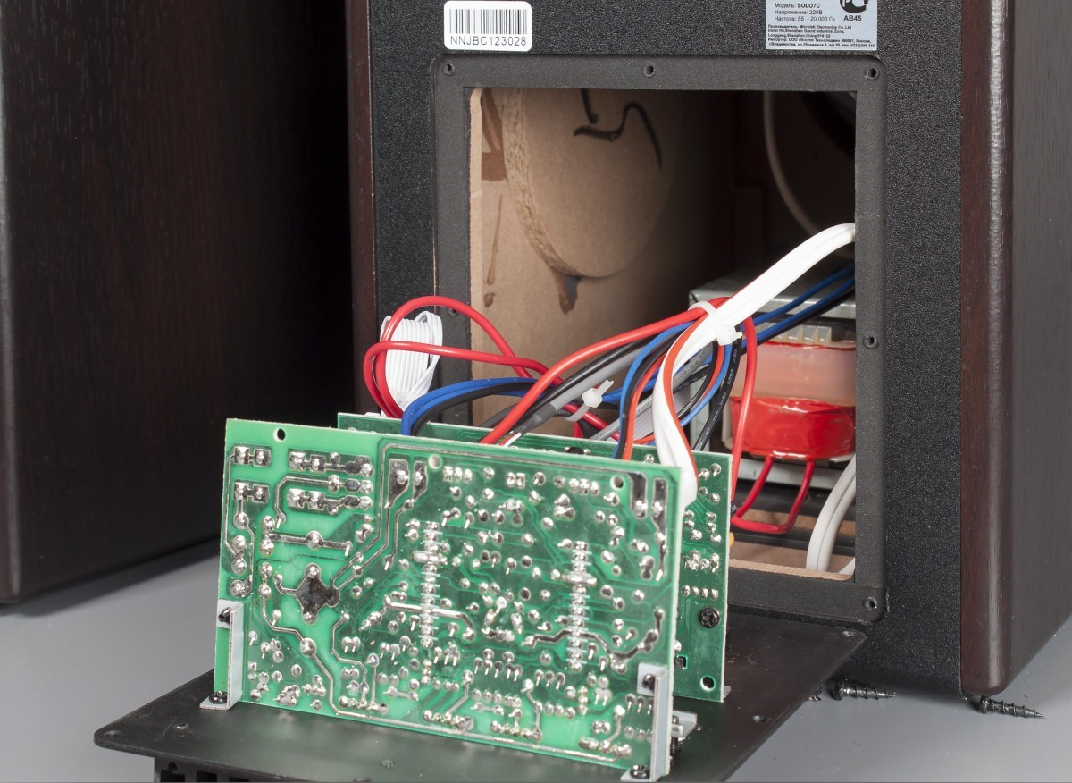 Рис. 8. Электронные платы внутри акустической системы.