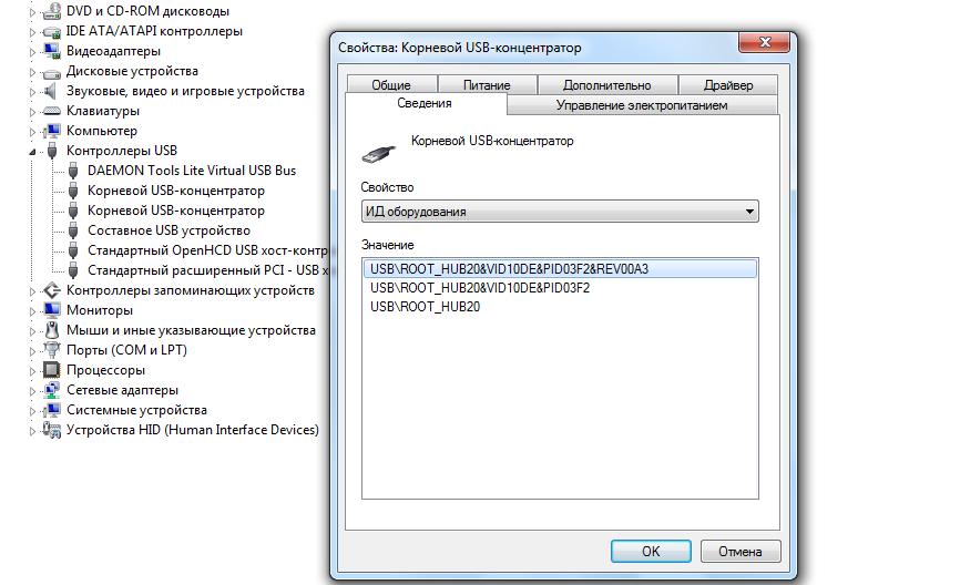 Рис. 6. Определение ID USB-порта.