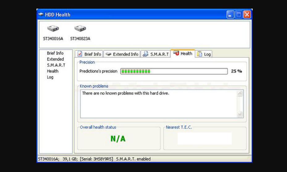 Рис. 7. Окно приложения HDD Health.