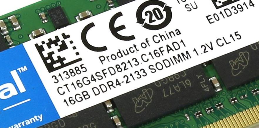 Рис. 7. Показатели RAM на планке памяти.