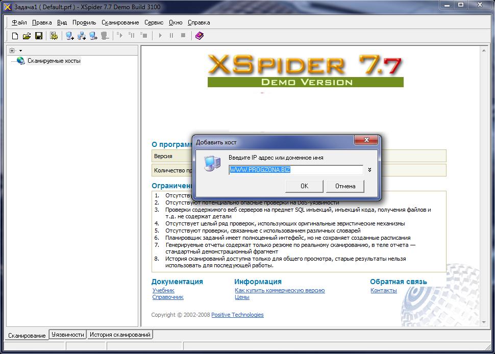 Рис. 9. Демо-версия сканера XSpider.