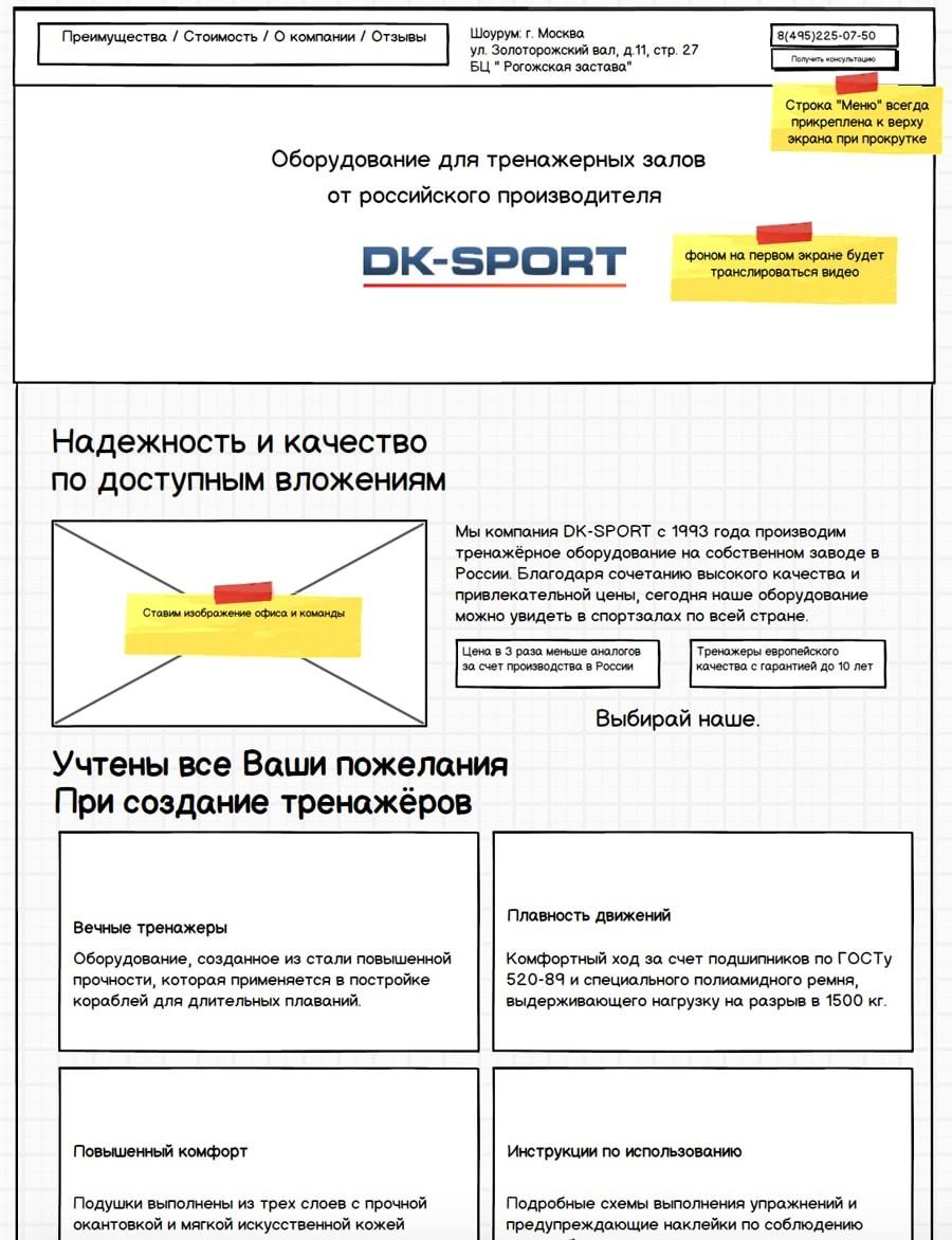 Рис. 1 – Готовый прототип сайта, выполненный в разработанной для этого программе