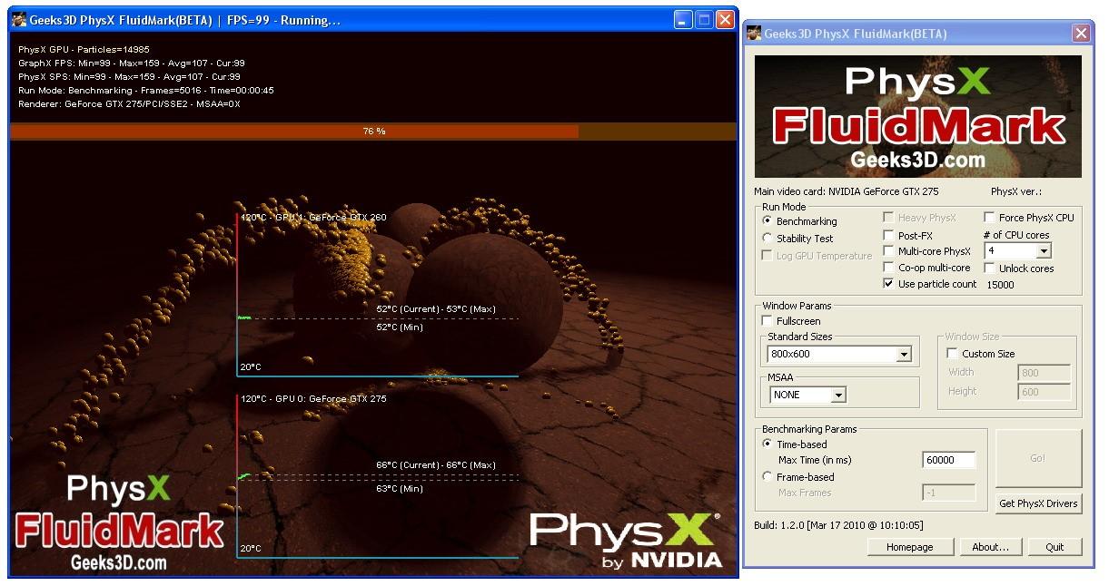 Рис. 10 – Моделирование физических эффектов в PhysX FluidMark