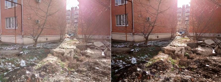 Рис.21 Отличие снимков, сделанных в разных режимах. Слева — обычный, а справа — HDR.