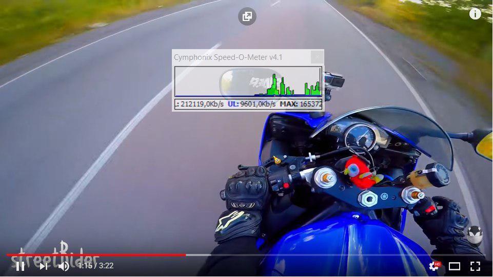 Рис. 30. Пример текущей скорости во время просмотра видео.