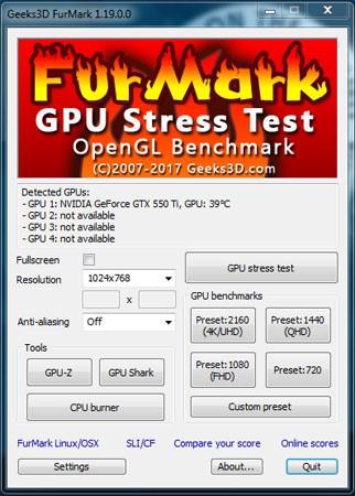 Рис. 6 – Интерфейс и настройки FurMark