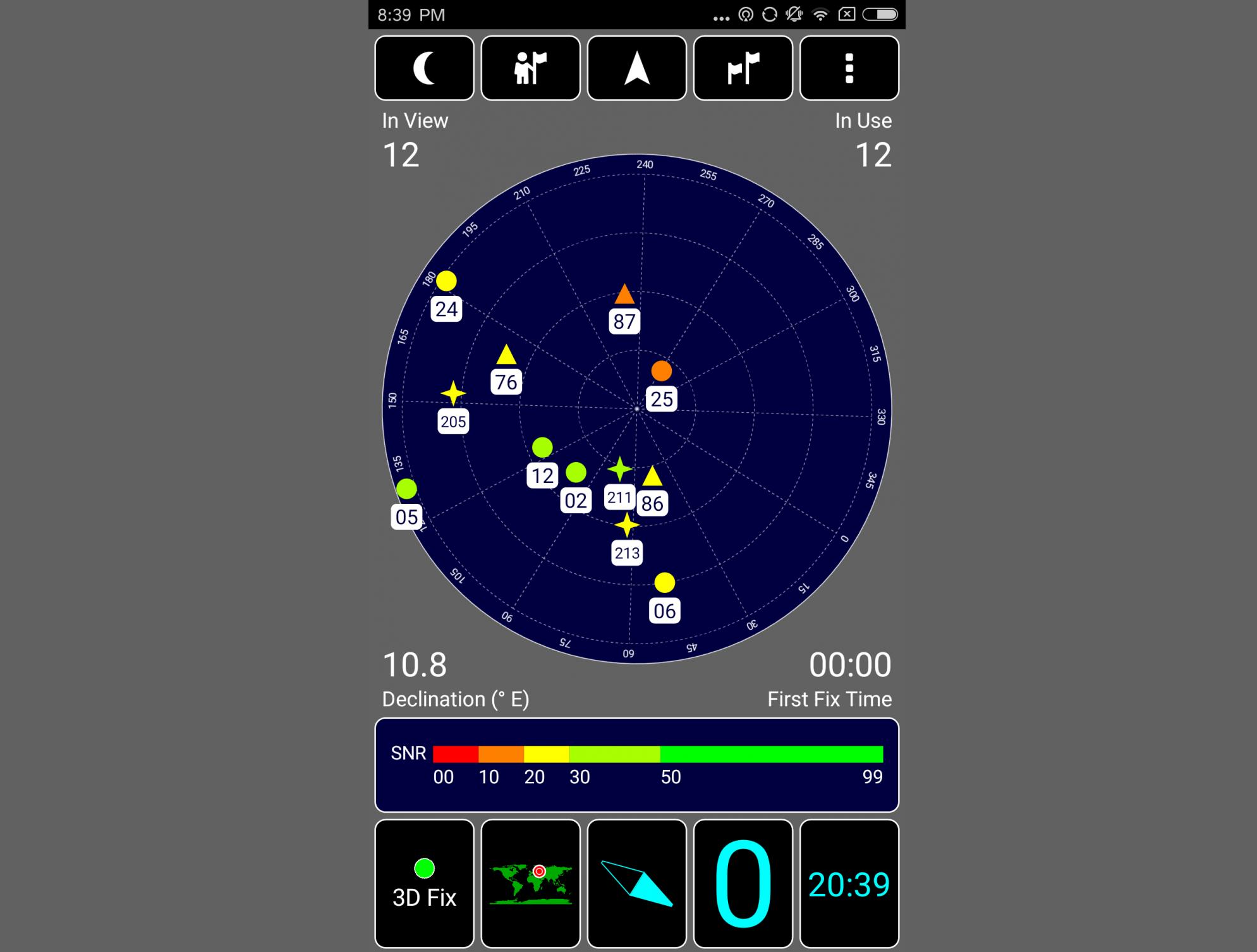 Рис. 8. Тест эффективности работы навигационного модуля.