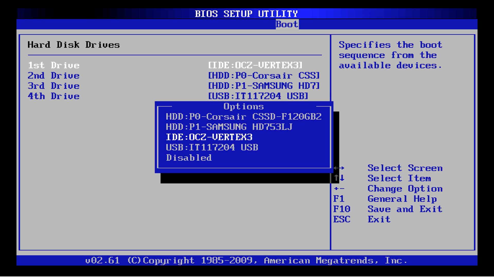 Рис. 8. Выбор диска в меню BIOS.