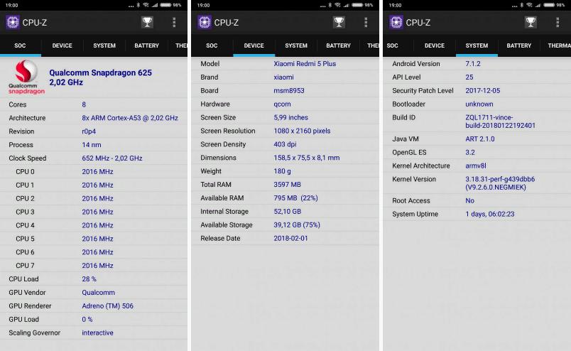 Рис. 10. Характеристики памяти смартфона при проверке в утилите CPU-Z.