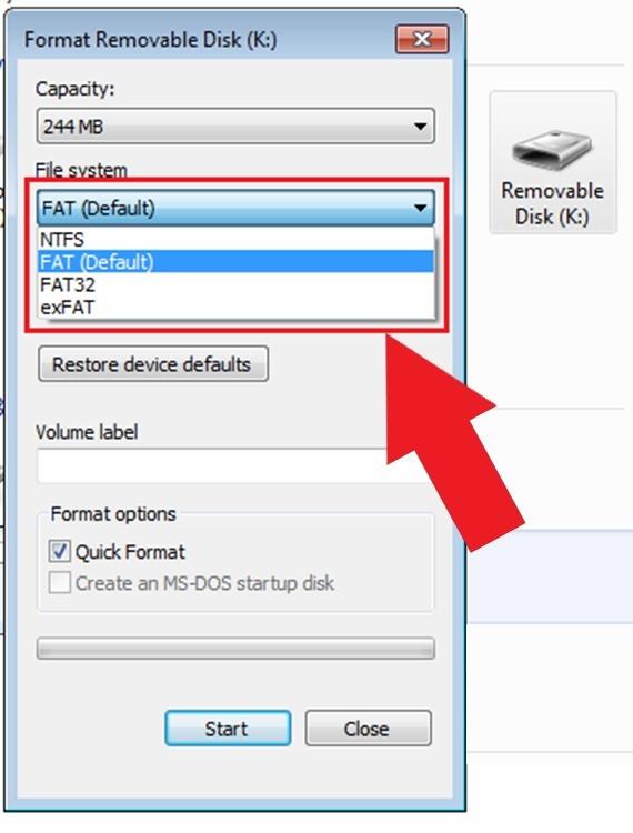 Рис.6 – форматирование накопителя