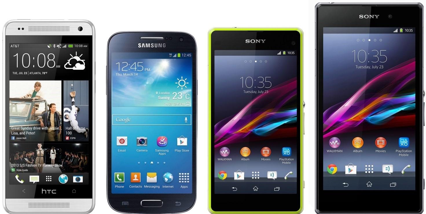 Рис. 7. Сравнение экранов телефонов 2013-2014 годов