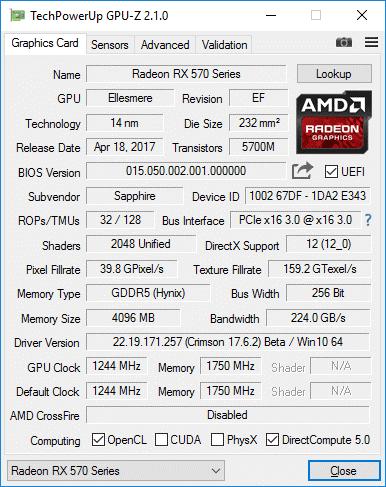 Рис. 8 – Спецификация в GPU-Z