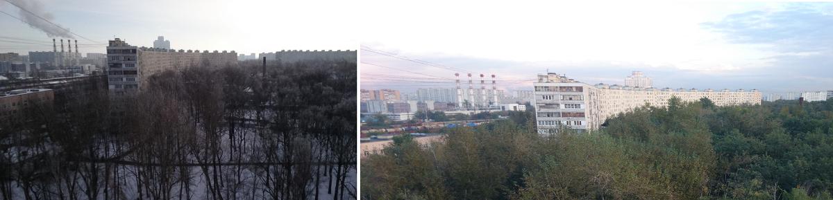 Рис. 9. Сравнение фото Зет1 Компакт (слева) и Зет 1 (справа) на местности