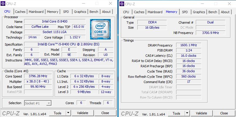 Рис. 4 – Показатели в CPU-Z