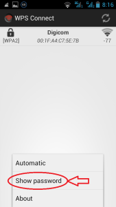 Рис. 9. Кнопка «Show password» в WPS Connect