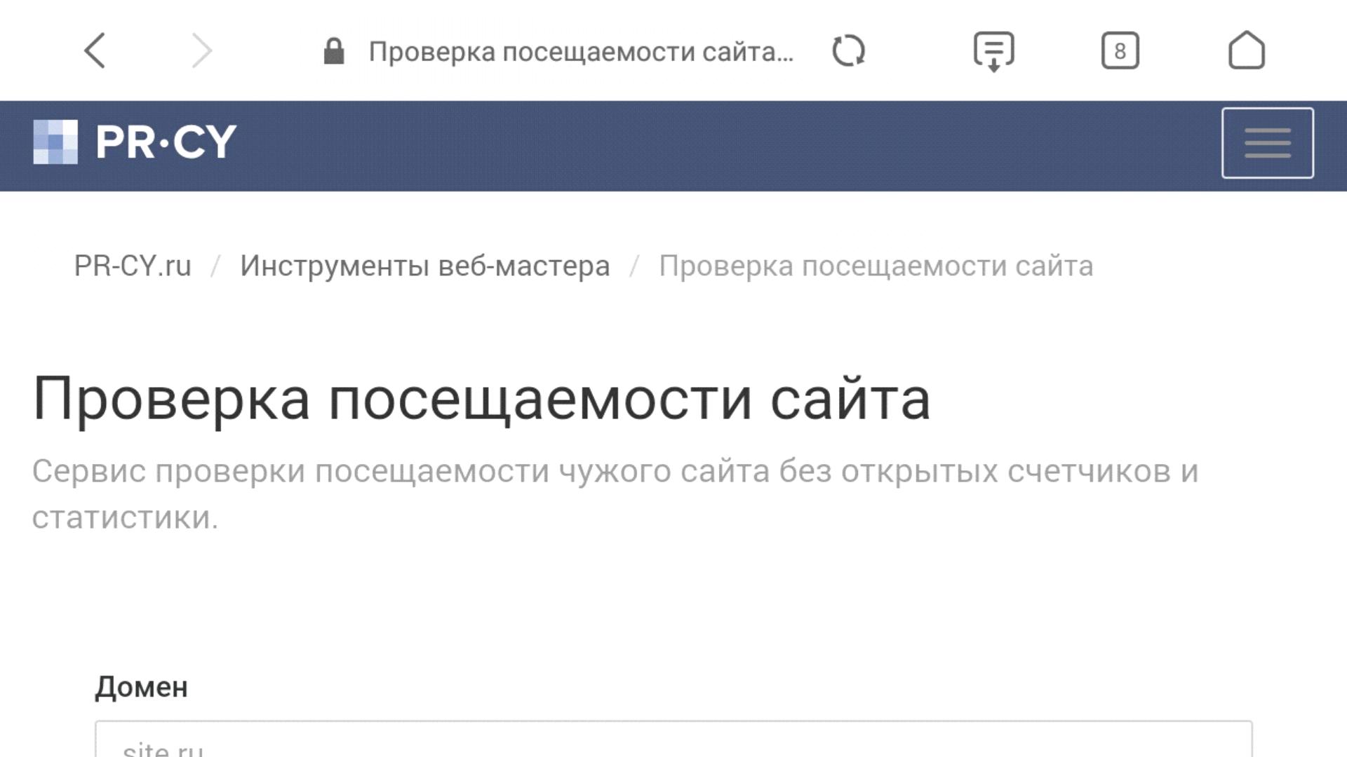 Рис. №1 Интерфейс сайта очень простой