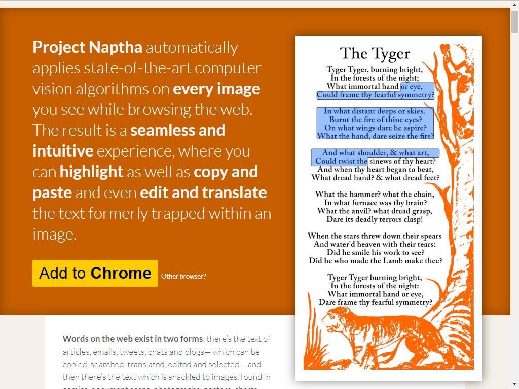 Рис. 13. Встраиваемое в браузер Google Chrome расширение Naptha.