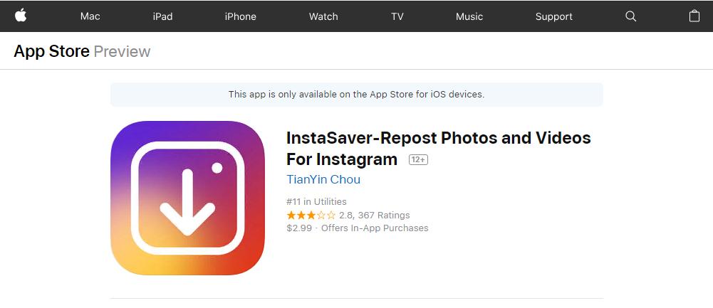 Рис. 8. Утилита для скачивания фото из Инстаграм на устройство с iOS.