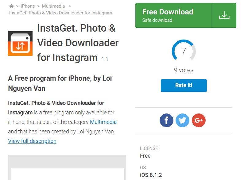 Рис. 9. Приложение для скачивания фото из Инстаграм на айфон или айпад.